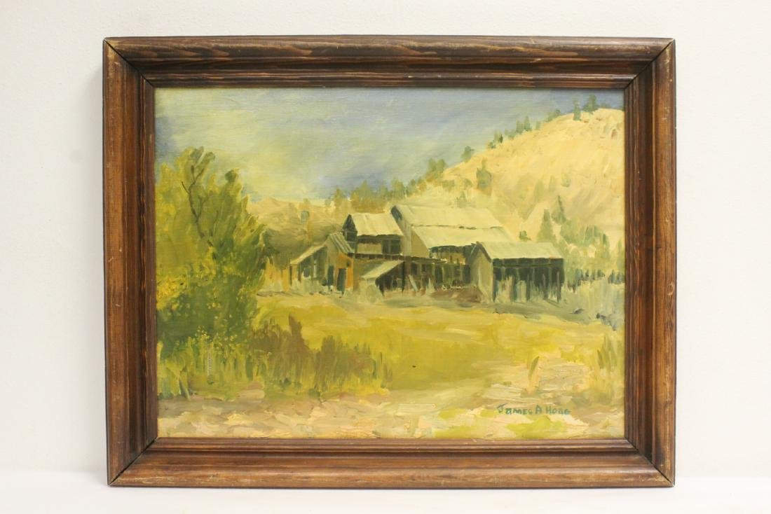 "Oil on canvas ""old mine"" by James A. Hoag"