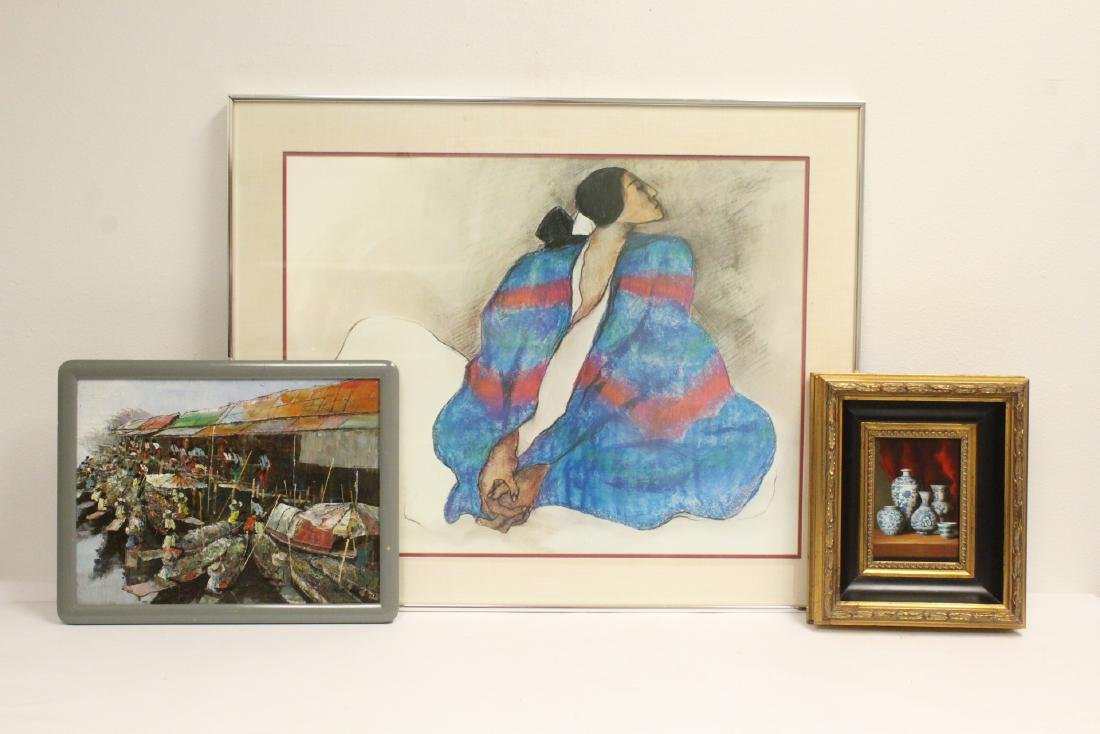 2 oil paintings and a R.C. Gorman print