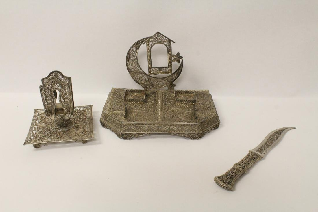 3 piece Russian/Persian 84 silver desk set