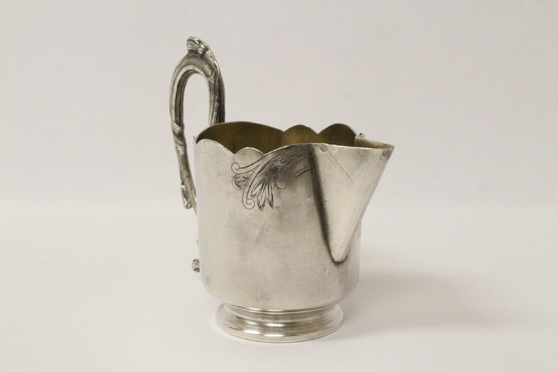 ornate antique Russian 84 silver handled creamer - 2