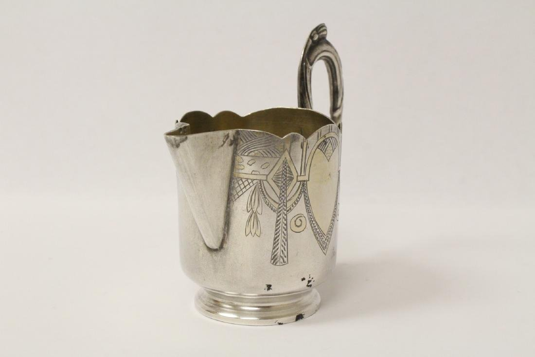 ornate antique Russian 84 silver handled creamer - 3