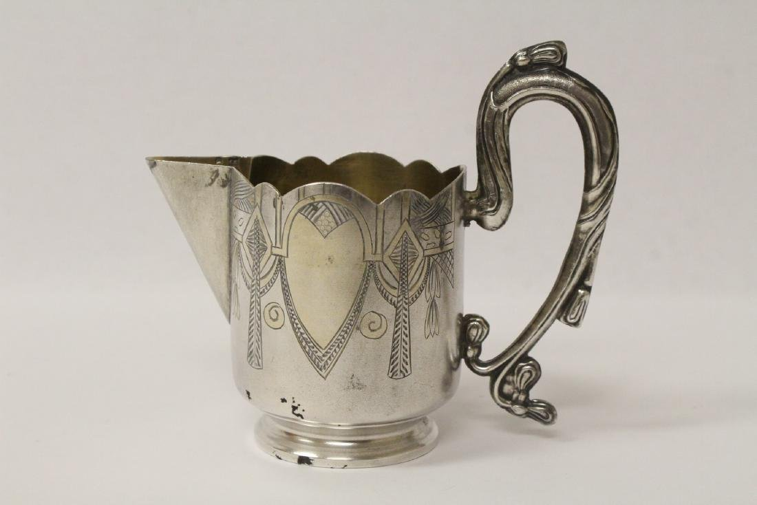 ornate antique Russian 84 silver handled creamer - 4