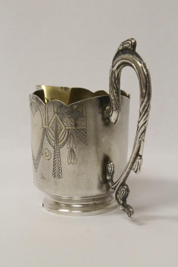 ornate antique Russian 84 silver handled creamer - 5
