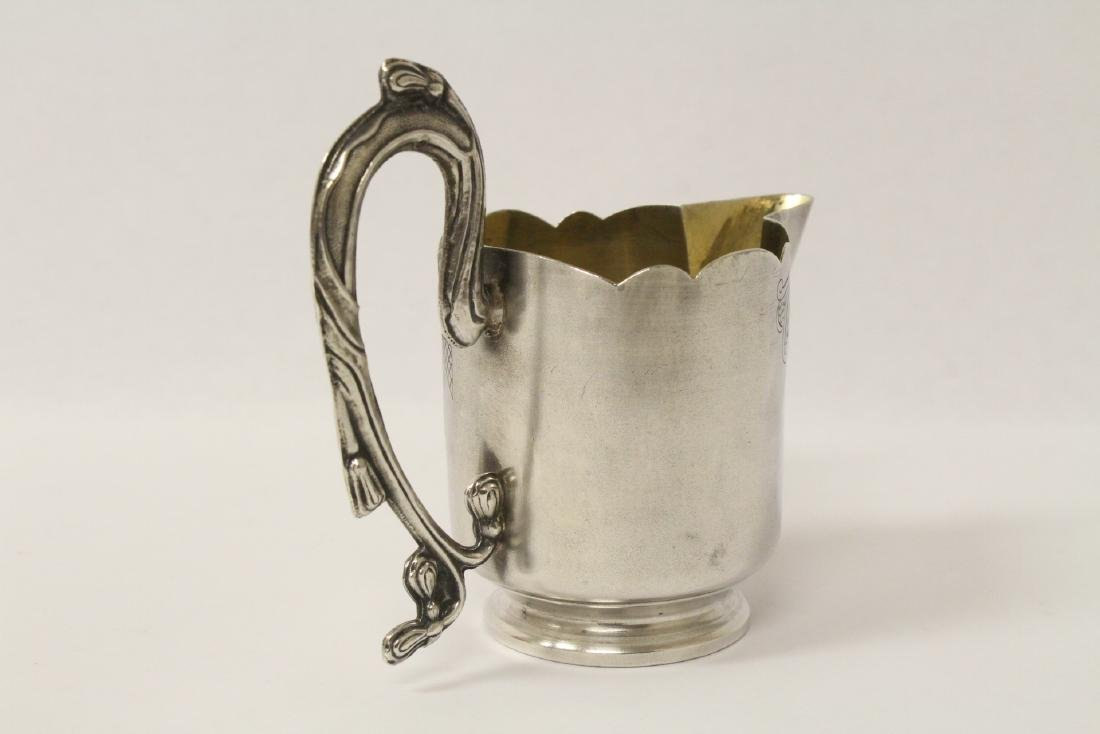 ornate antique Russian 84 silver handled creamer - 6