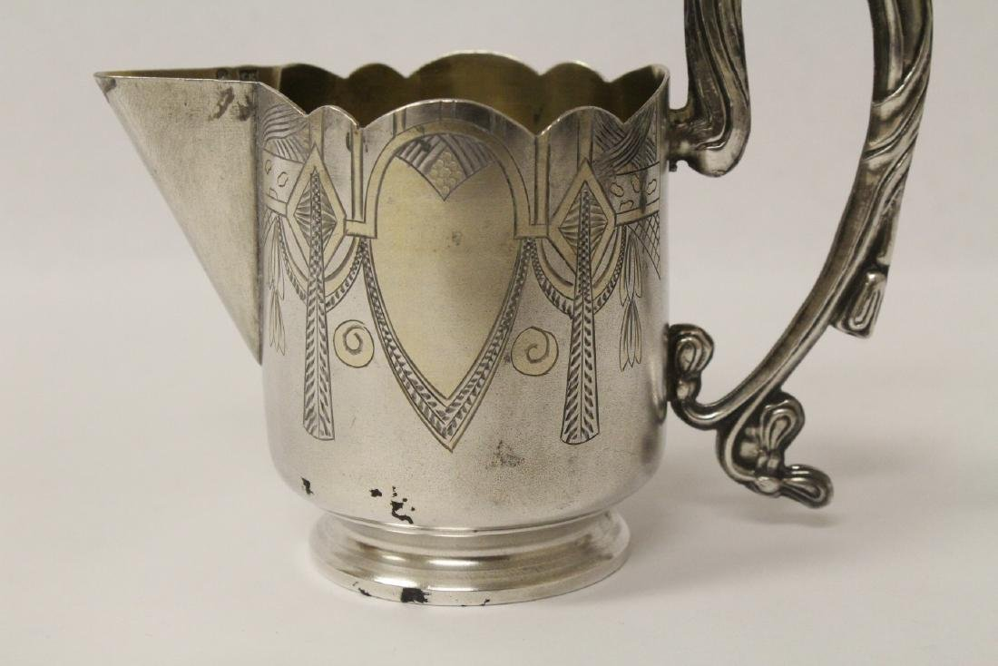 ornate antique Russian 84 silver handled creamer - 7