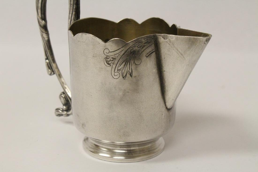 ornate antique Russian 84 silver handled creamer - 8