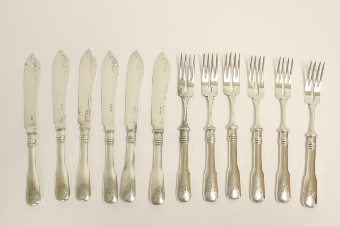 Set of 12 continental 800 silver fish set