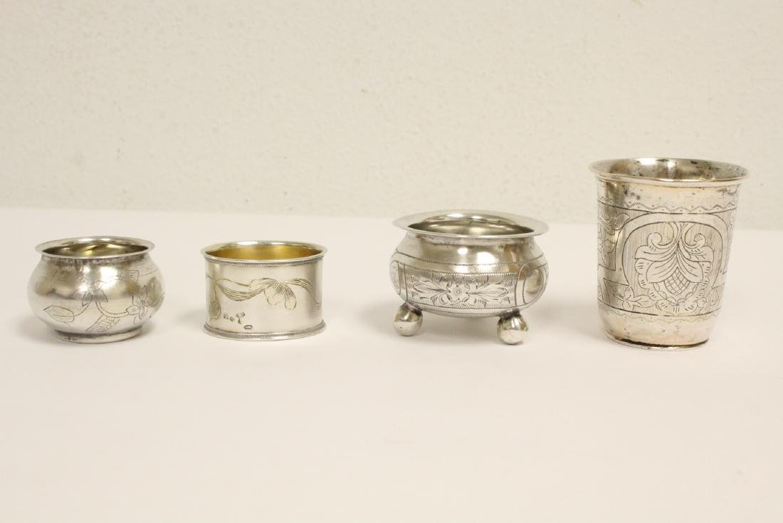 3 Russian antique silver pieces & one cup