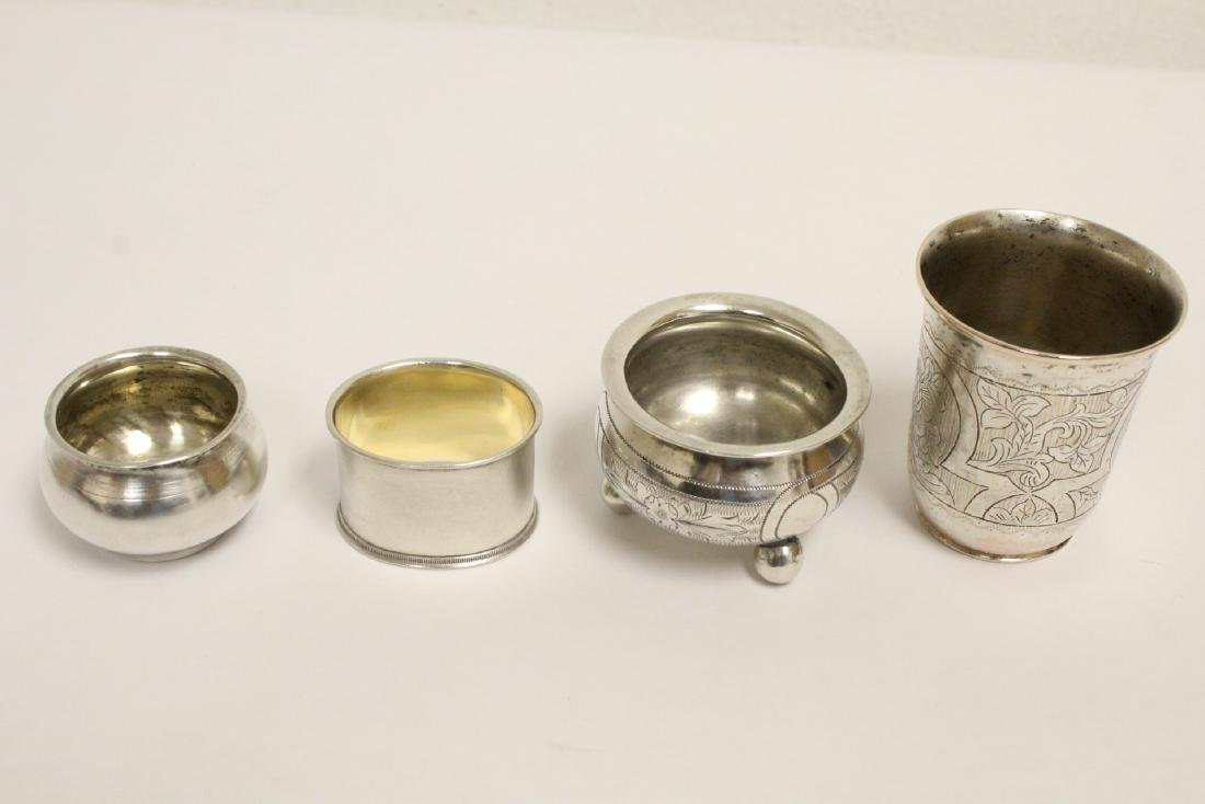 3 Russian antique silver pieces & one cup - 2