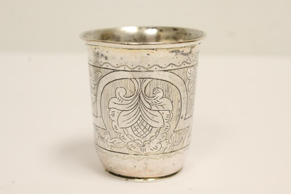 3 Russian antique silver pieces & one cup - 3