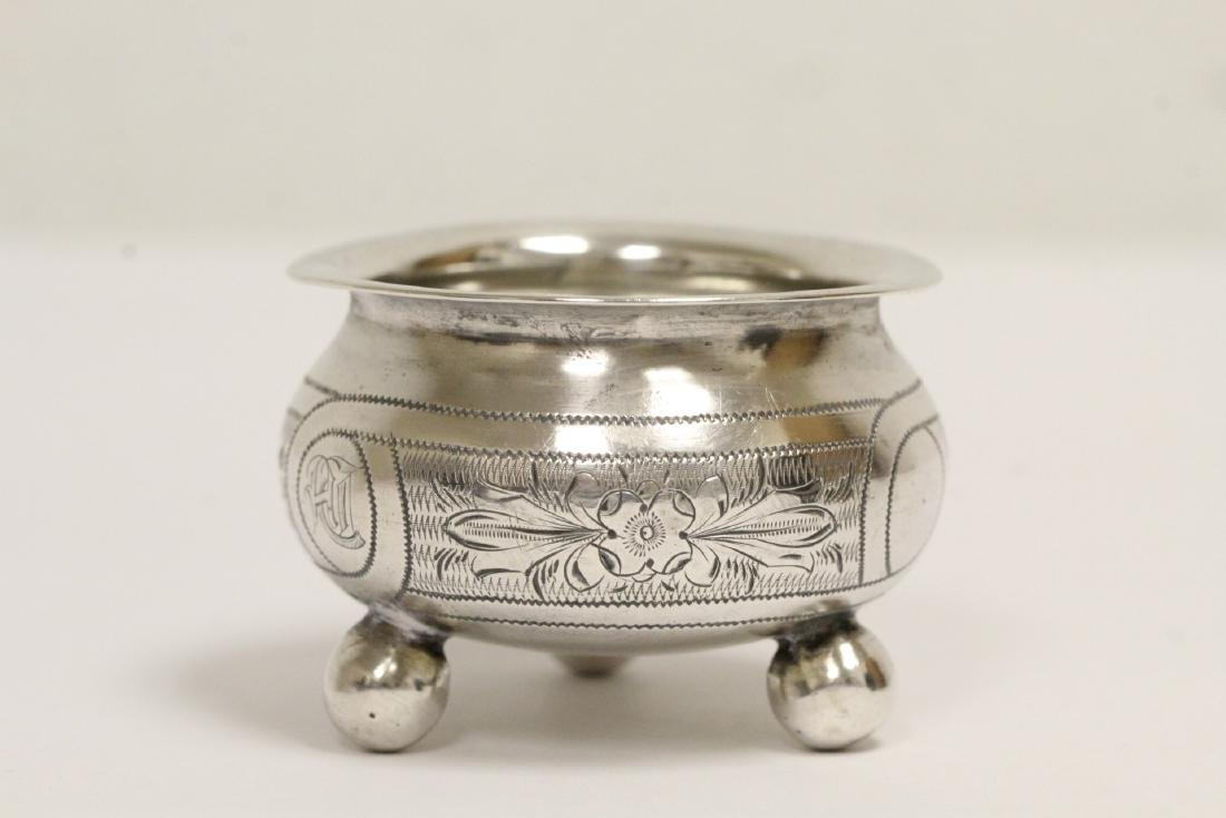 3 Russian antique silver pieces & one cup - 5