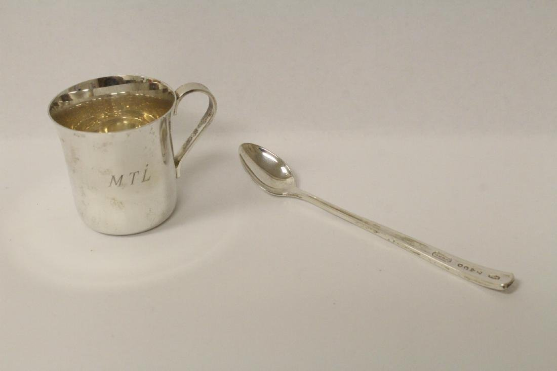 Sterling baby cup and sterling spoon by Tiffany