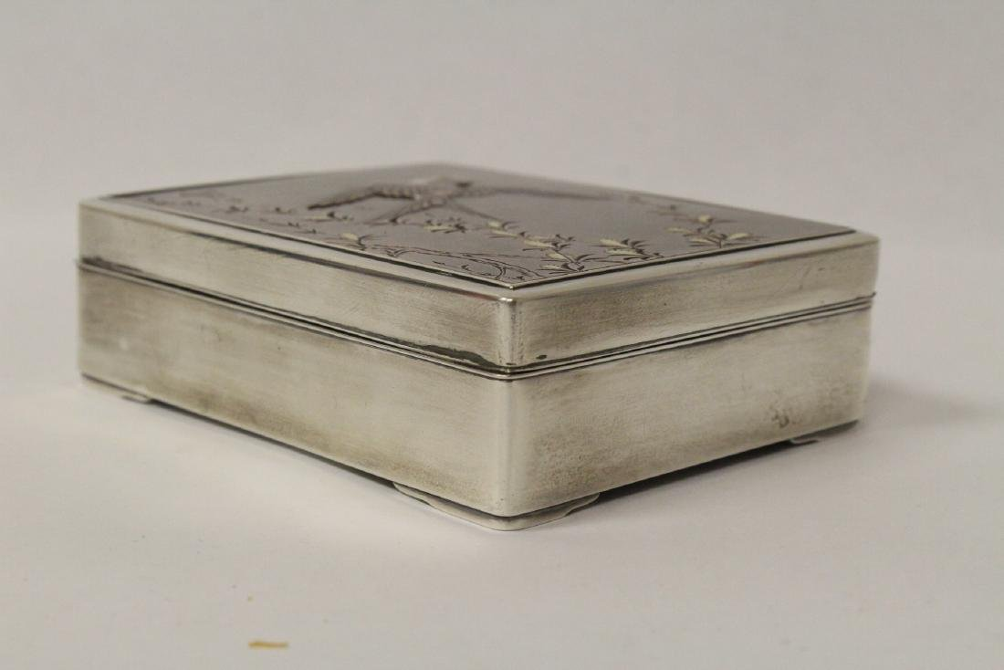 A silver and rosewood box, signed by artist - 3