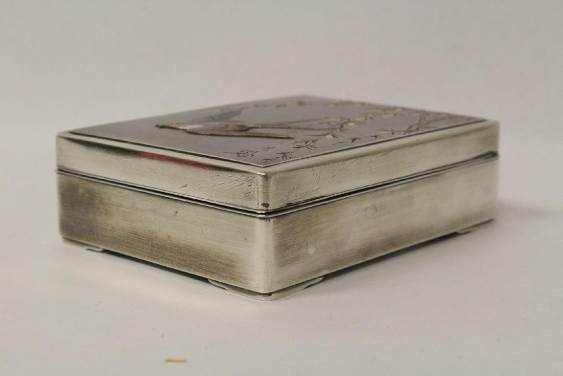 A silver and rosewood box, signed by artist - 4