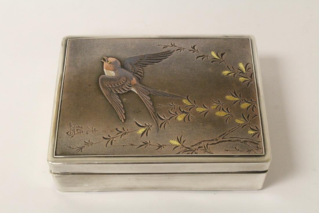 A silver and rosewood box, signed by artist - 6