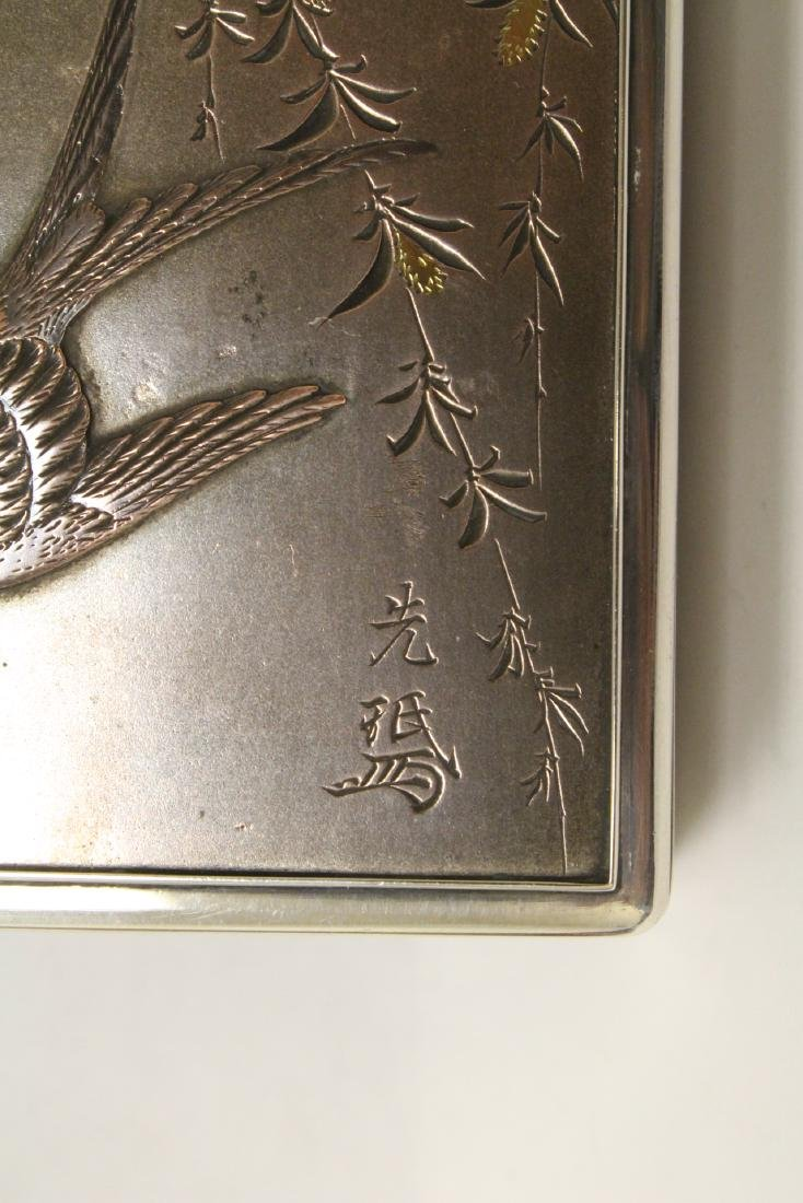 A silver and rosewood box, signed by artist - 8