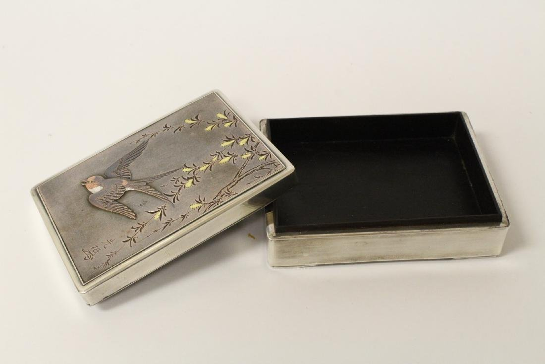 A silver and rosewood box, signed by artist - 9