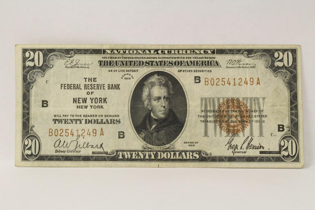 1929 Federal Reserve $20 note for Bank of New York