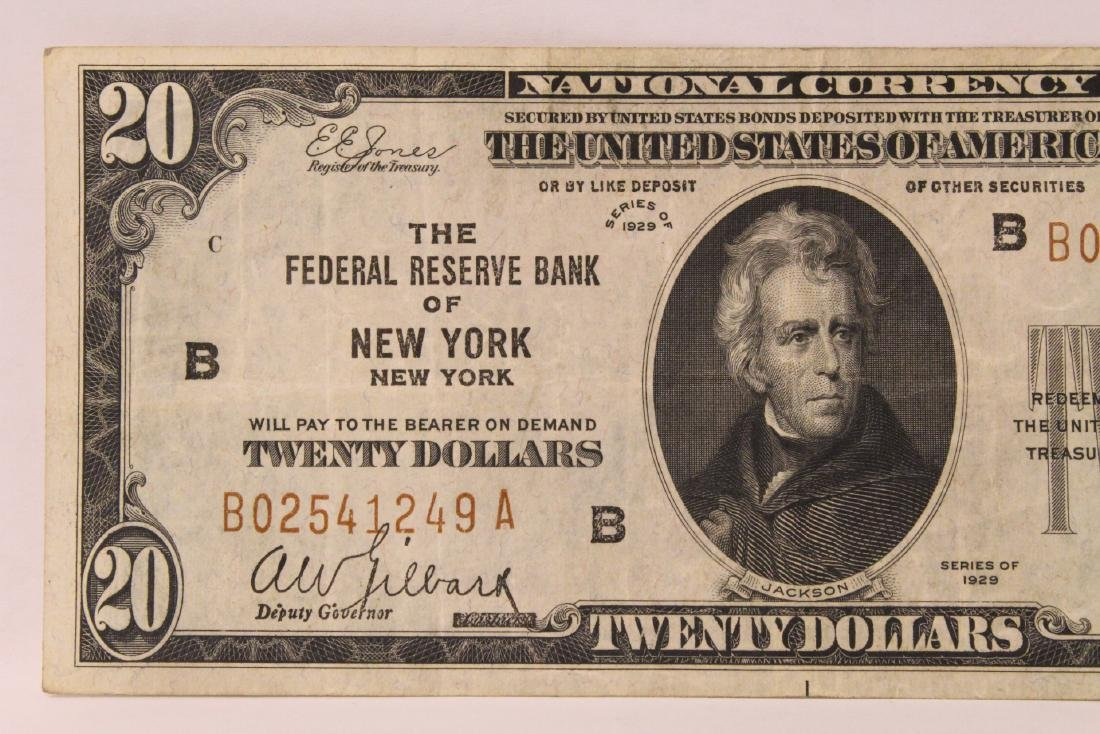 1929 Federal Reserve $20 note for Bank of New York - 2