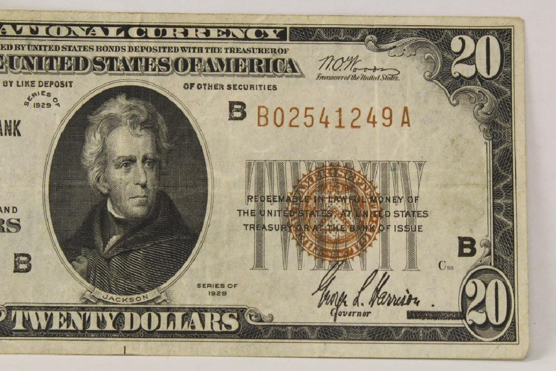 1929 Federal Reserve $20 note for Bank of New York - 3