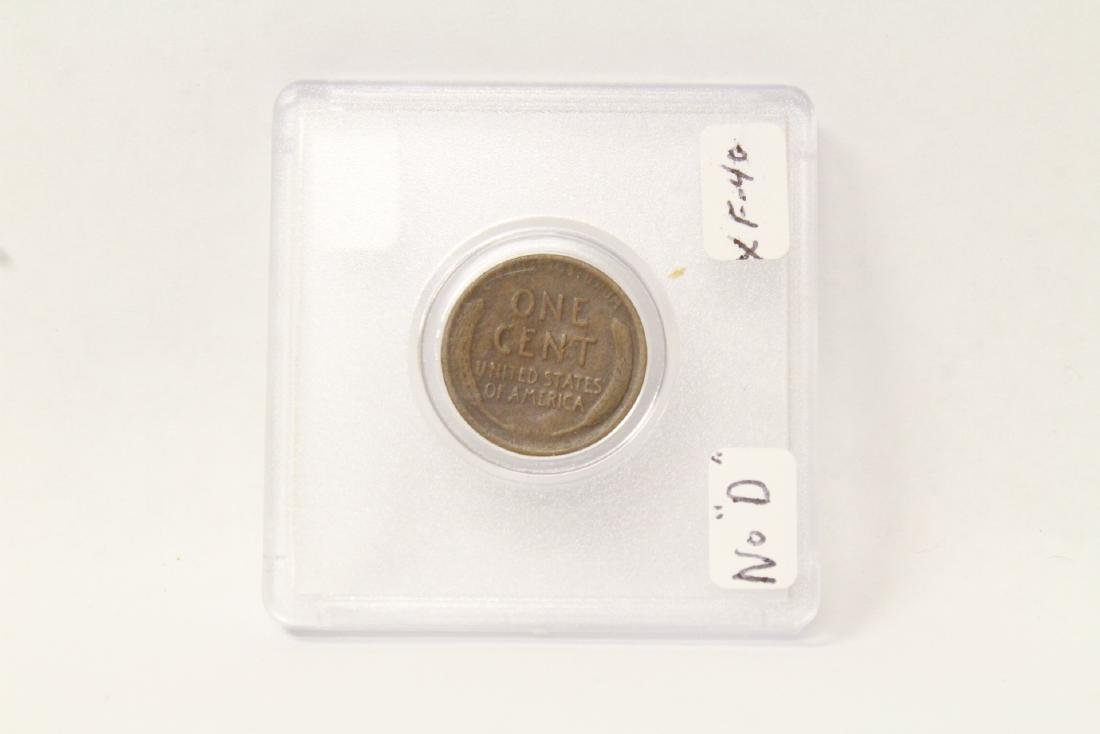 "1922 NO ""D"" Lincoln cent in extremely fine condition"