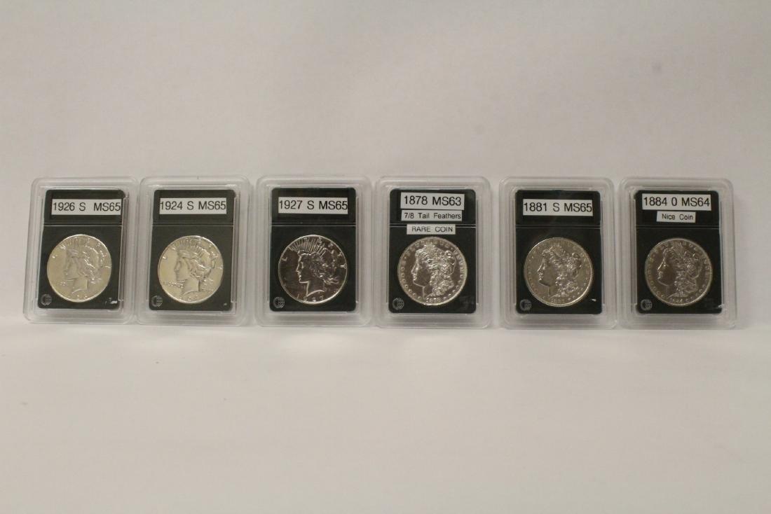 3 Morgan silver dollars & 3 rare date peace dollars