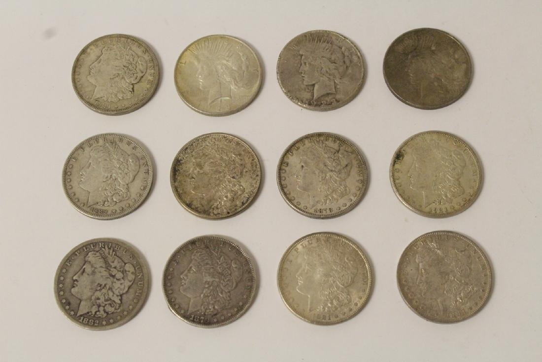 12 US silver dollars