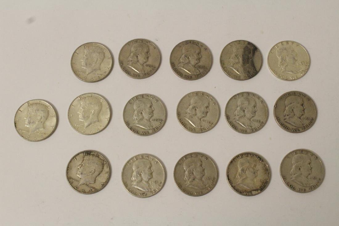 16 US silver half dollars