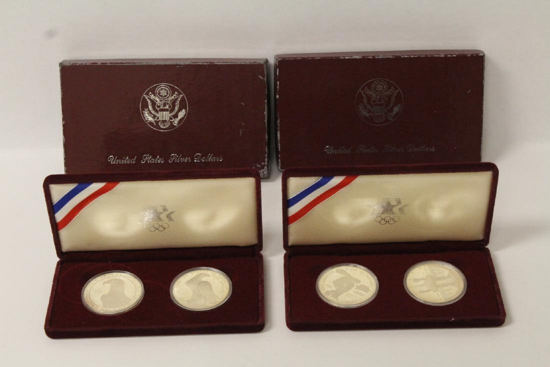 4 US 1984 Olympic silver commemorative coins