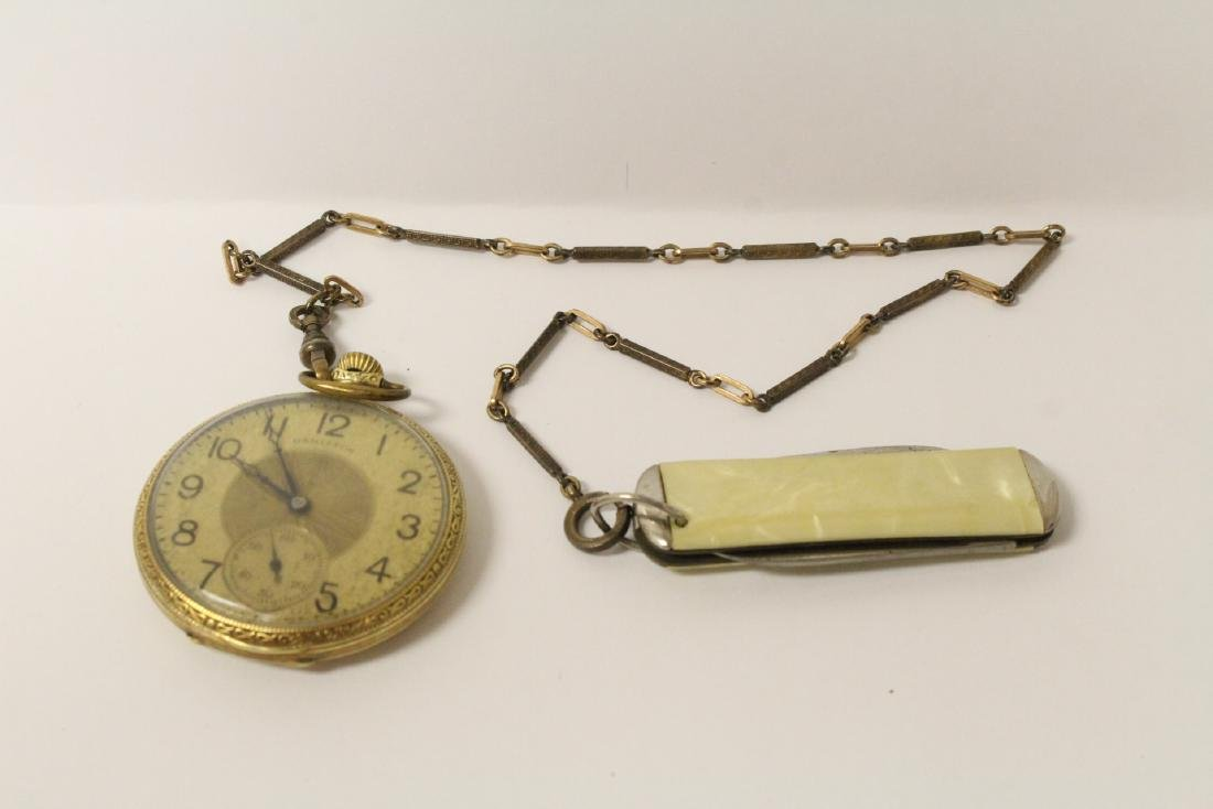 Hamilton pocket watch w/ fob and pocket knife
