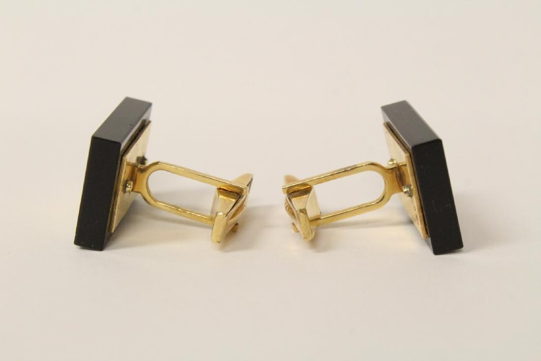 Pair beautiful 14K and onyx cufflinks - 3