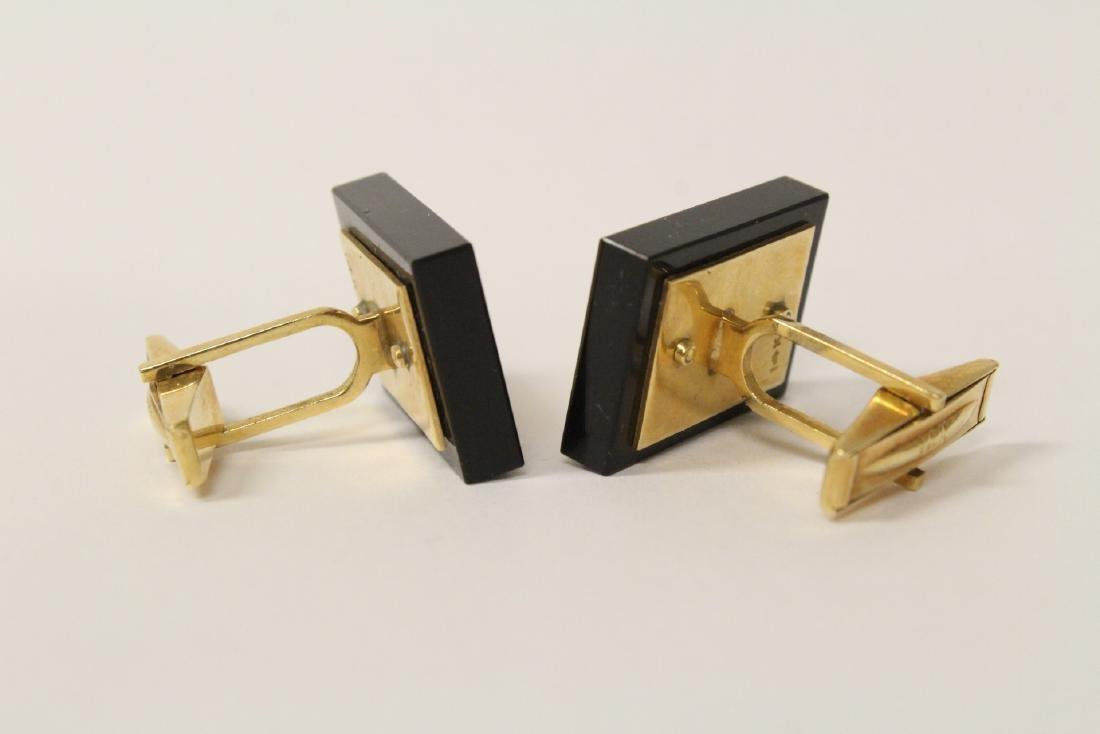 Pair beautiful 14K and onyx cufflinks - 5