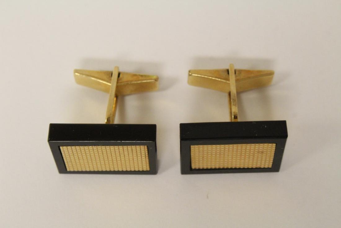 Pair beautiful 14K and onyx cufflinks - 6