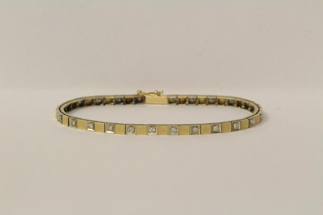 14K bicolor streamline diamond bracelet