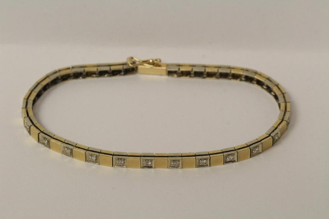 14K bicolor streamline diamond bracelet - 2