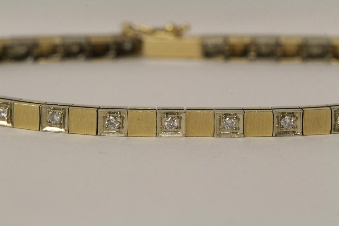 14K bicolor streamline diamond bracelet - 3