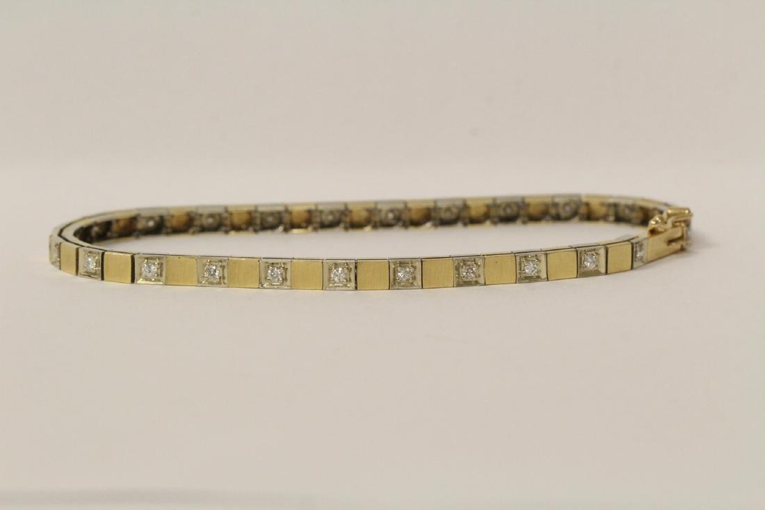 14K bicolor streamline diamond bracelet - 8