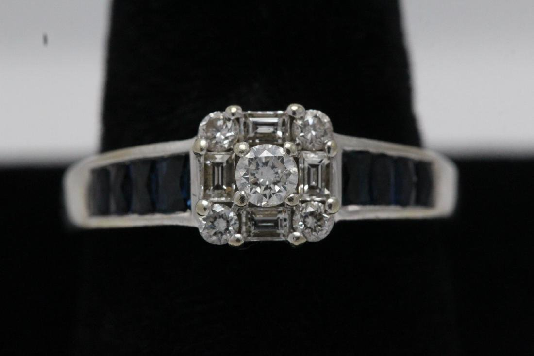 14K W/G diamond sapphire ring