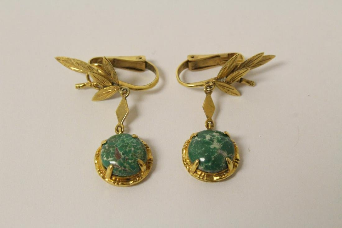 Pair 14K earrings set with green stones, wt. 6.9gm