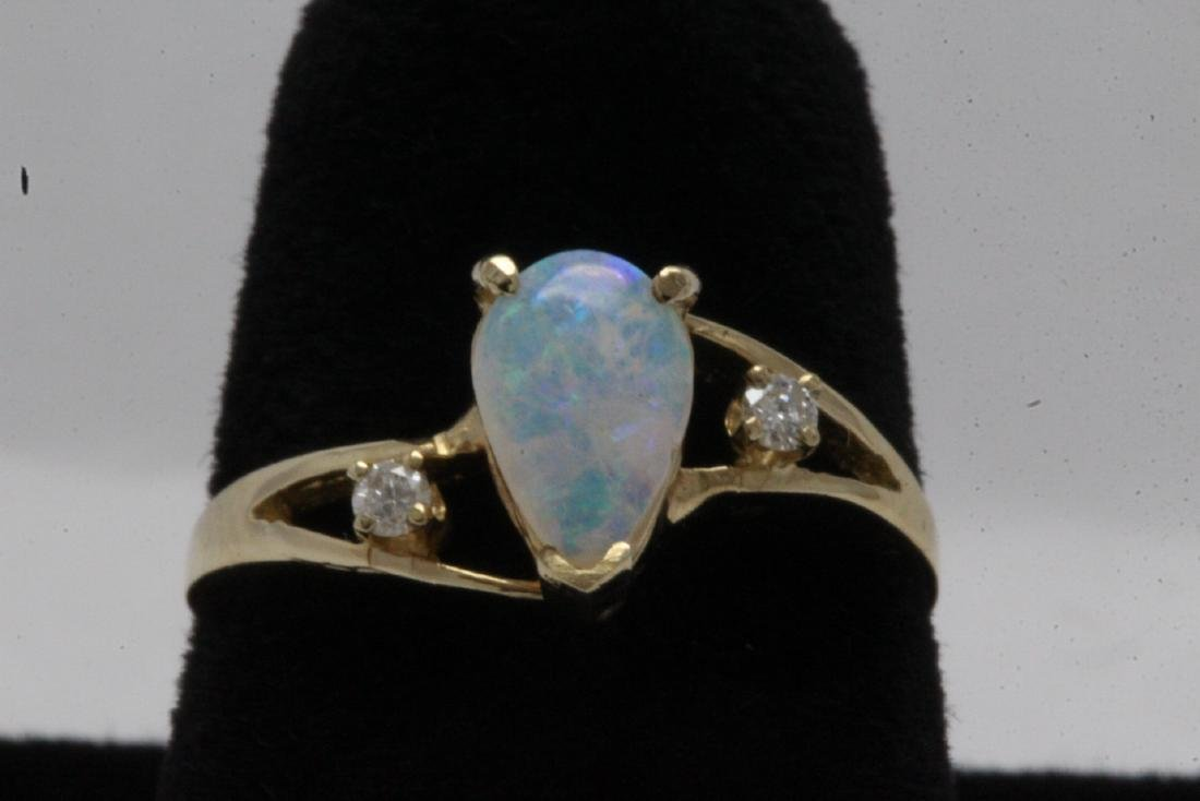 14K Y/G opal diamond ring