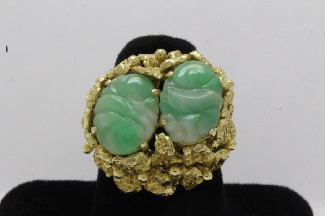 Chinese 14K Y/G jadeite ring