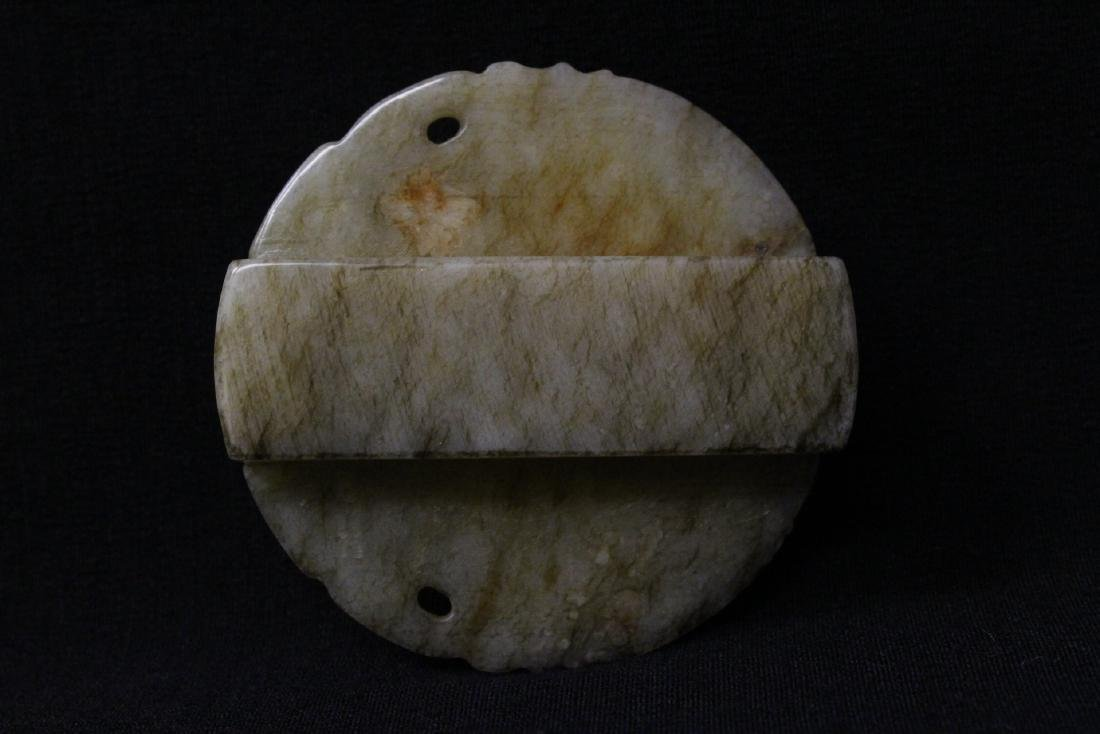 Chinese white jade carved belt buckle - 9