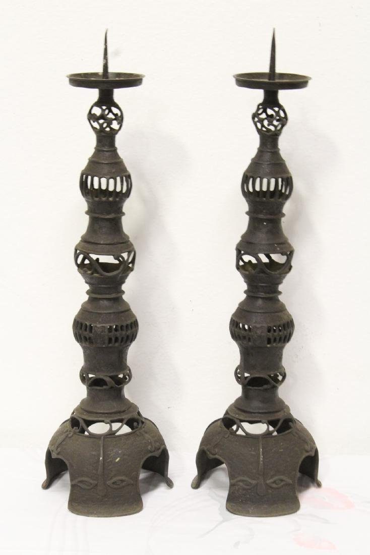 Pair Japanese antique cast iron candle holders - 4