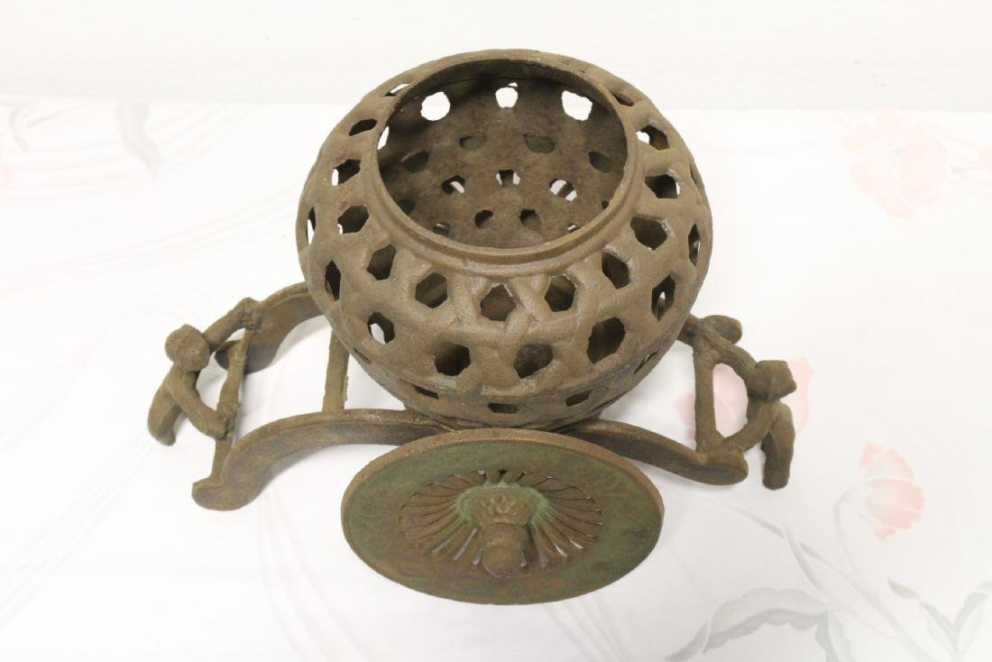 Japanese cast iron ikebana planter - 9