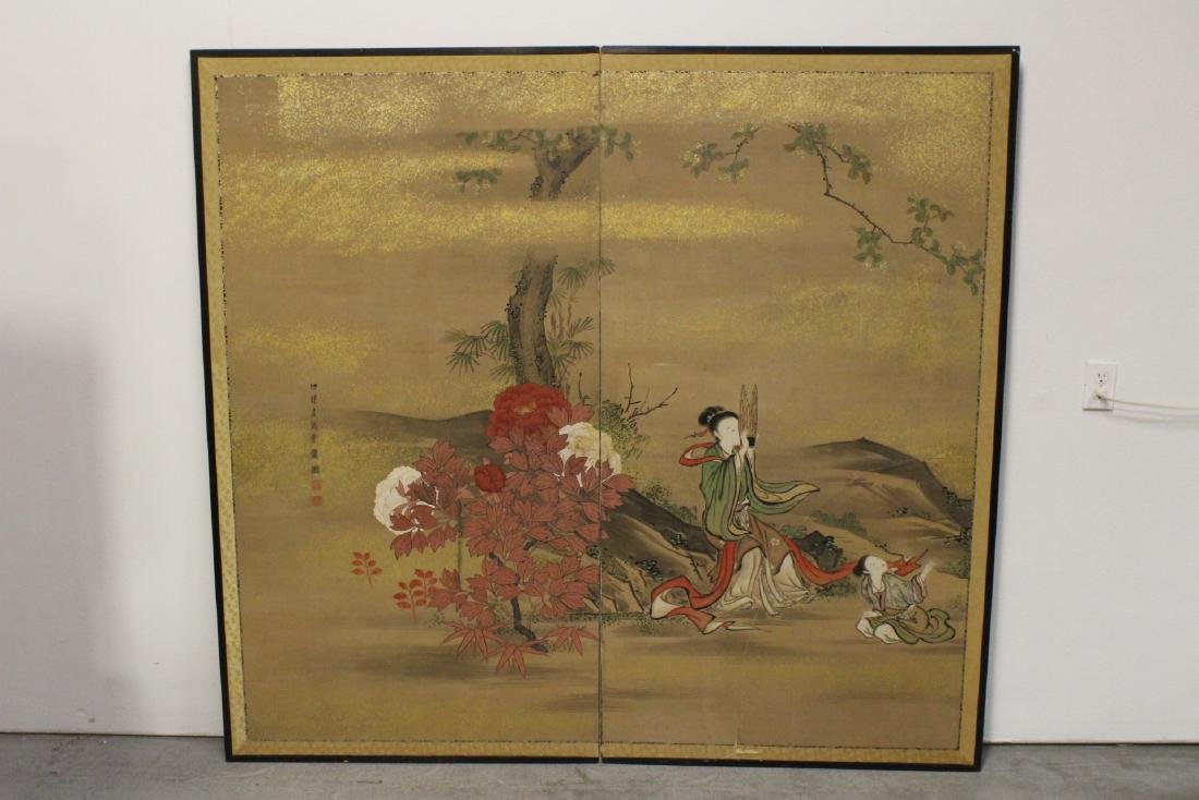 19th c. Japanese Kano school 2-panel room divider