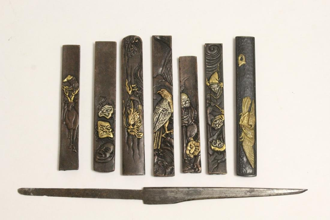 7 Japanese sword decoration, and a small dagger
