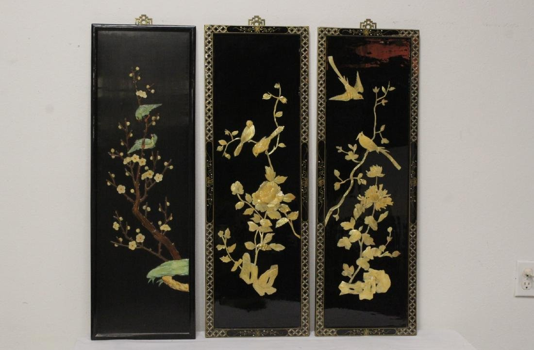 3 Chinese lacquer wall panels with stone overlay