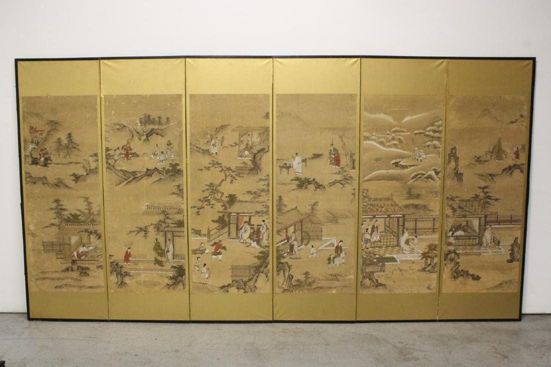A Chinese antique 6-panel room divider