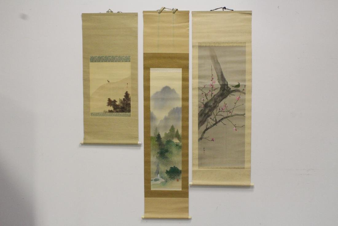 3 Japanese watercolor scrolls