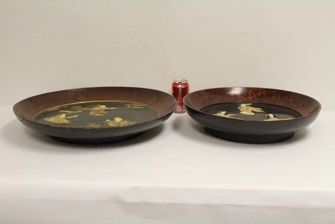 2 Japanese antique lacquer bowls